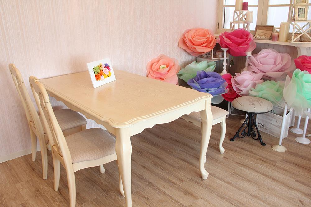 アンティークホワイト色猫脚テーブルチェアベンチセット